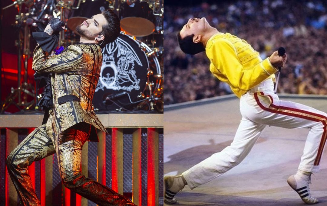 Action Adam lambert and Freddie Mercury